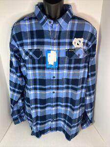 North Carolina UNC Tar Heels Men's Columbia Flannel Shirt Large L Blue L/S