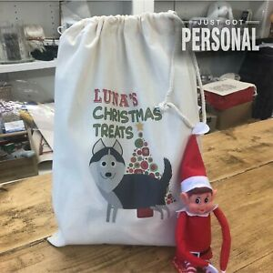 Puppy Christmas Gift - Personalised Dog Santa Sack - Husky - Luna Design