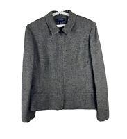 Ann Taylor Size 12 Blazer Jacket Gray Wool Blend Silk Pockets Gray Full Zip