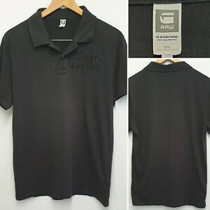 G-STAR RAW BLACK ART POLO SHIRT SIZE L LARGE TOP SHORT SLEEVE COLLARED