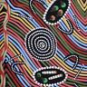 AUSTRALIAN ABORIGINAL ART QUILT FABRIC - RAINBOW SNAKE BLACK -  by FQ or Metre