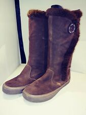 Vans Off The Wall Phoebe Womens 7.5 Brown Suede Leather Boots Fur Trimmed