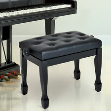 More details for homcom faux leather piano stool height adjustable seat keyboard bench black