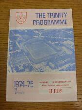 15/12/1974 programma Rugby League: Wakefield Trinity V Leeds (Rusty in Fiocco). Co