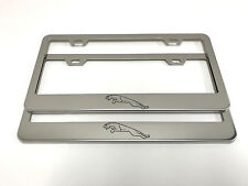 "(2) STAINLESS STEEL CHROME Polished Metal License Plate Frame - JAGUAR ""LOGO"""