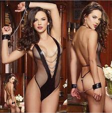 Fishnet Vinul Women's Lingerie Dress Underwear Black Babydoll Sleepwear Teddy