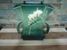ROSEVILLE POTTERY ART DECO FREESIA VASE #200-7 DOUBLE HANDLED