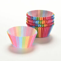 100X Cupcake Liner Baking Rainbow Cup Paper Muffin Case Cake Box Tray Mold LN8C