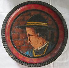PAUL FOUILLEN QUIMPER DEPOSSE SIGNED BRETON MAN PYROGRAPHIC WOOD PLATE