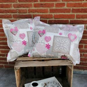 Wachstuchkissen Herzen rosa - Outdoorkissen Loungekissen Gartenkissen (3 Größen)
