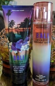 SET Bath & Body Works BALI BLACK COCONUT SANDS Body Cream & Mist