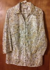 Shimmery Alfred Dunner 3/4 length sleeve blouse gray/yellow/silver animal print