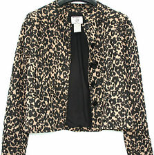 WOMEN'S LEOPARD PRINT BLACK GOLD SHIMMER SHORT CROPPED FITTED JACKET Size 10/12