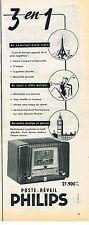 PUBLICITE ADVERTISING 024   1954   PHILIPS    poste-réveil