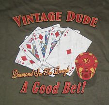 POKER A Good Bet T-Shirt New XL Vintage Dude Diamond in the Rough Cards Chips