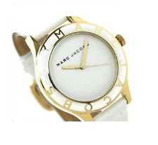 NEW MARC JACOBS BLADE WHITE+GOLD TONE,WHITE LEATHER BAND WATCH-MBM1100