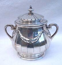 French Louis XVI style Lidded Sugar Pot Silverplate Ribbon Gallia Paris 1910