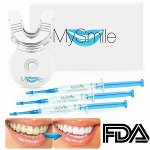 Mysmile Teeth Whitening Kit Bleaching Gels LED light Tray shade guide FDA 22%