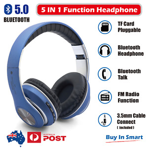 Wireless Headphone Bluetooth 5.0 FM Radio Earphone Headset Rechargeable with Mic