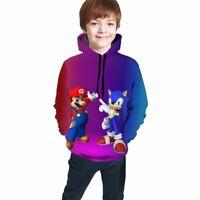Mario & Sonic the Hedgehog Battle Game Kids Youth Pullover Hoodies Sweatshirts