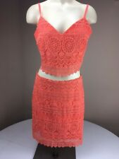 BEBE Sexy Crop Top/Skirt 2pc Set Dress Pink Eyelet Lace Sz M/8 Honeymoon Vacay
