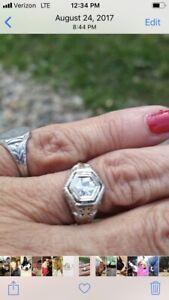 ANTIQUE ART DECO PLATINUM FILIGREE DIAMOND ENGAGEMENT RING VINTAGE