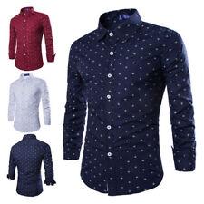 Mens Casual Dress Shirt Long Sleeve Button Tops Slim Fit Dots Printing Fashion
