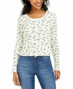 Polly & Esther Juniors Size M Floral Print Cropped Thermal T-Shirt