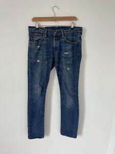 Polo Ralph Lauren Sullivan Slim Blue Distressed Jeans Button Fly W32 L32