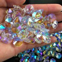 100pcs 14MM Clear Crystal Glass Chandelier Part Prisms Octagonal Beads Decor