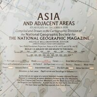 Vintage Asia & Adjacent Areas Wall Map National Geographic Society December 1959