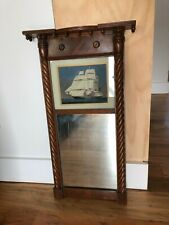 Federal style wall mirror with ship painting