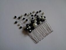 Black and white glass pearl crystal flower hair comb spray wedding bridal prom