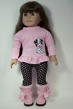 """Black Pink Dalmatian Dog Doll Clothes w/Boots For 18"""" American Girl (Debs)"""
