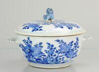 Antique ca 1700 Kangxi Cobalt blue tureen Chinese Porcelain China Top Qu...