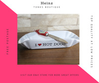 Heinz I Love Hotdogs Ceramic Dish + Tomato Sauce Cutlery Knife - Collectable