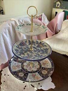 VINTAGE CHINA 3 TIER CAKE STAND WEDDINGS HIGH TEA SANDWICHES SWEETS