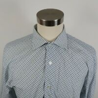 Express Mens 100s 2 Ply Classic Fit LS Button Down White Blue Checkered Shirt XL