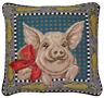 """14"""" x 14"""" Handmade Wool Needlepoint Pig Corn Pillow"""