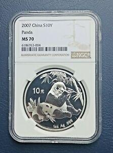 China 2007 Silver 10 Yuan Panda NGC MS70