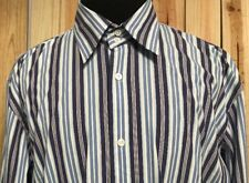 Faconnable Men's Striped Long Sleeve Dress Shirt Size Large