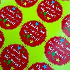 35 X 35mm Thank You for Coming to My Party Stickers Boys Girls Unisex