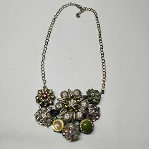 CHICO'S STUNNING Necklace Silver Chain with Green Tone Flower Pendant