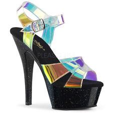 """PLEASER Kiss-220MMR Magic Mirror TPU Glitter Pole Dancer Club Platforms 6"""" Heels"""