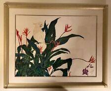 Vtg Signed Jonna White exotic bird limited edition lithograph Art Deco frame