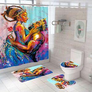 King Queen Shower Curtain Bathroom Rug Set Bath Mat Non-Slip Toilet Lid Cover