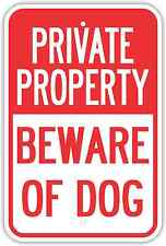 "12""X18"" PRIVATE PROPERTY BEWARE OF DOG ALUMINUM SIGNS Heavy Duty Metal Warning"