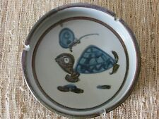 Mid Century Modern Stoneware Pottery Ashtray Turtle Butterfly Vintage 1970's