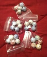 5 Vintage Collectible Speckled Glass Marbles - Toys Hobbies Games Used Confetti