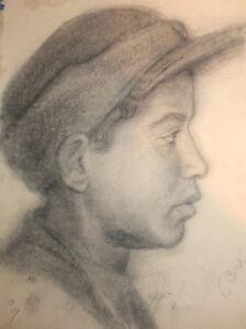 Antique pencil boy portrait drawing signed